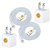 2PC High Quality 1M (3ft) Heavy Duty Lightning 8Pin Sync USB Charger Cable & 2PC Wall Charger Adapter for iPhone (White)