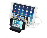 Power 4-port USB Charging Station and Portable USB Charger Dock for All Iphones / Ipads / Nexus / Galaxy / and Other Smartphones and Tablets (Black) (No Cables Included)