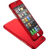 Iphone 6 Case, Coocolor Ultra Thin Full Body Coverage Protection Hard Slim Iphone 6 Case with Tempered Glass Screen Protector for Apple Iphone 6 4.7″ (Red)