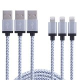 Mopow 3 Pack 3FT Tangle Free Nylon Braided Lightning Cable 8 Pin USB Charging Cord with Aluminum Connector for Apple iPhone 6/6s/6 plus/6s plus, 5c/5s/5, iPad Air/Mini, iPod Nano/Touch