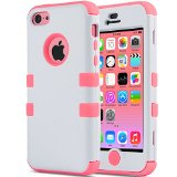 iPhone 5C Case, ULAK 3in1 Anti Slip IPhone 5C Case Hybrid with Soft Flexible Inner Silicone Skin Protective Case Cover for Apple iPhone 5C White + Coral Pink