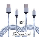 Wecharge(TM) 2 Pack 10FT Durable Nylon Braided Lightning Cables Syncing and Charging Cord with Aluminum Connector for iPhone 6s plus, 6s, 6 plus, 6, 5s, 5c, 5, iPad Air, iPad Mini, iPod (White)