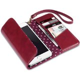 iPhone 6S Plus Case, Terrapin iPhone 6S Plus Trifold Clutch Purse Wallet with Polka Dot Interior for iPhone 6 Plus / 6S Plus – Dark Red
