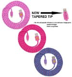 1 X NEWLY DESIGNED High Quality – 6ft(2m) Braided Nylon Lightning Charging Cables for Apple iPhone 5 5C 5S, iPhone 6 6 Plus, iPad 4 Mini, iPod Touch 5/Nano 7, 8 pin to USB – 3pack(pink hot pink purple)