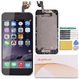 JingXiGuoJi® Replacement Digitizer and Touch Screen LCD Assembly With Spare Parts (Home Button, Flex Cable, Camera Bracket, Adhesive,Tools) For iPhone 6 plus 5.5″ (Black)
