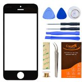 Iphone 5 5S Black Front Outer Lens Glass Screen Replacement CrazyFire Repair Kit With 1MM Adhesive Tape+Tools Kit+1 Pair Tweezers+1 Roll Micro Wire Screen Seperator