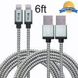 Mribo 2pcs 6FT 8Pin Lightning Cable Nylon Braided Charing Cable Extra Long USB Cord for iphone 6s, 6s plus, 6plus, 6,5s 5c 5,iPad Mini, Air,iPad5,iPod on iOS9.(gray+silver).