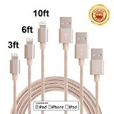 Bestfy 3Pack 3FT 6FT 10FT 3IN1 Extra Long Nylon Braided 8Pin to USB Charging Cable Cord with Aluminum Heads for iPhone 6/6s/6 Plus/5/5c/5s, iPad 4 Mini Air iPod Nano 7 iPod Touch 5 (Golden)