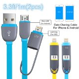 Lightning USB Cable, Smilism [2 Pack] 3.3ft Lightning & Micro USB Charging Cord for Iphone 6 6 Plus 5 5s 5c, Ipad Air, Sumsung, HTC, Motorola, Nokia and Other Android Phones Tablet (Blue/Yellow)