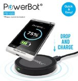 PowerBot PB1020 Qi Enabled Wireless Charger with Micro USB Cable for Smartphones & Tablets – Black