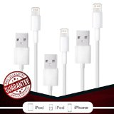 Fierce Cables® 3PACK 6FT 8 pin USB Lightning Cables Charger Cord iPhone 6s Plus 6 Plus 6s 6 5s 5 iPad Air 2 iPad Mini [iOS 9 Compatible]