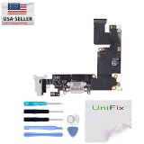 Unifix-Charging Port Dock Mic Headphone Jack Flex Cable Replacement Part For iPhone 6 Plus 5.5 White + Tool Kit