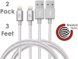 Beam Electronics Apple MFI Certified Charging Cable for Apple iPhone 5/5S/6/6 Plus/iPod/iPad, Nylon 3 foot 2 pack