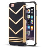 iPhone 6s Case, LOEV Anti-slip Shockproof Armor iPhone 6s Protective Case Ultra Slim Fit Non-slip Grip Rubber Bumper Case Cover for Apple iPhone 6 & iPhone 6s 4.7 inch – Gold Chevron Pattern
