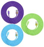 3-Pack of Superior Quality – Heavy Duty, 8-pin to USB, 3 Meter (10Ft) Lightning Charging Cables for Apple iPhone 5, 5C, 5S, iPhone 6, 6 Plus, iPad 4, iPad Mini, iPod Touch 5 and Nano 7 (Purple blue green)