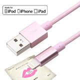Yellowknife 3.3ft(1m) Apple MFi Certified Tough Nylon Braided Lightning to USB Cable for iPhone 6/iPhone 6S / 6 Plus, iPad Air 2 and More(Pink)