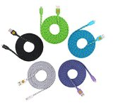 HIGH QUALITY 5 Pack of 10ft Multi-Colored Braided Flat Noodle Lightning 8 pin to USB Cables for iPhone 5 / 5C / 5S / 6 / 6 Plus , iPad Mini, iPad Air, iPod Touch 5th Gen, Nano 7th Gen, – Latest IOS Supported (green.blue.purple.white.black)
