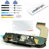Zeetron Replacement Charing Port Dock Assembly for iPhone 4S Black (Includes Speaker, Microphone, Home Button Flex, Antenna, Charging Flex) + 6 Piece Tool Kit + Zeetron Microfiver Cloth A1431 A1387 A1387