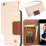 iPhone 5c Case,By HiLDA,Wallet Case,PU Leather Case,Credit Card Holder,Flip Cover Case[Brown] For iPhone 5C Only
