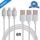 Atill 3 Pack Silver Nylon Braided Extra long Charging Cord Lightning USB Cable 6ft For iPhone 6s 6s+ 6plus 6, 5s 5c 5, iPad Air mini mini 2, iPad 4, iPod 5, and iPod 7on iOS9. (6FT,Silver)
