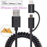 [Apple MFi Certified] Yellowknife® High Quality 3.3ft/1m (2-in-1) Spring Coiled Micro to iPhone Lightning Cable Sync Charging Cord for iPhone 6 / 6S / 6 Plus / 5S / 5C / 5, iPad, iPod and Power Bank, Samsung, Blackberry, LG, Sony More Smartphone with OAproda Cloth (Extra Strong, Micro with iPhone) Black