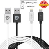 Apple Cable, 2 Pack Long 6 Ft iPhone 6S Charger F-color™ Apple Certified 8 pin Lightning to USB Cable Cord for iPhone 6S 6 Plus 5S 5C 5 iPad 4 Air 2 Mini 4 iPad Pro iPod Touch 5 Black White