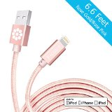 iPhone 6S Charger, Rose Gold Cable, 6.6 Feet Long F-color™ Braided Lightning Cable Cord to USB Cord Apple Certified for iPhone 6S 6 Plus 5 5S 5C iPad Air 2 Mini 4 iPad Pro Rose Gold / Rose Pink