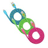 3 Pack 6ft Durable Hi-Speed Braided Flat Noodle Lightning USB SYNC Cable Charger Cord for iPhone 6, 6 Plus, 5, 5C, 5S, iPad 4, iPad Mini, Ipad Air, iPod Touch 5th Gen, iPod Nano 7th Gen, Support Latest IOS, 8-pin to USB – (blue, green, hot pink)