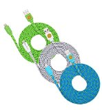 3PK HIGH QUALITY 10FT (3M) Flat Noodle Braided Lightning to USB SYNC Cable Charger for iPhone 6S, 6S Plus, iPhone 6, 6 Plus, iPhone 5S, 5, 5C iPad 4, iPad Mini, iPad Air, Air 2 – (Green White Blue)