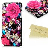 6 Plus Case,Iphone Case – Mavis's Diary 3D Handmade Bling Crytal Hot Pink Flower Sexy Lips and Lipstick with Colorful Shiny Glitter Sparkly Diamond Rhinestone and Sliver Rivet Black Cover Hard Back Case for Iphone 6 Plus (5.5″) with Soft Clean Cloth