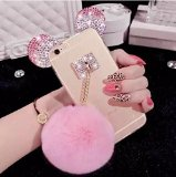 Iphone 6 plus/6s plus case,Jesiya Cute 3D Diamond Bling Ears/Bear Ears/Mouse Ears with Mobile phone hang rope Metal Buckle Pendant Soft TPU Clear Cover case for Iphone 6 plus/6s plus 5.5″(Fur Ball)