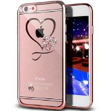 iPhone SE Case,iPhone 5S Case,NSSTAR Mini Love Heart Glitter Bling Crystal Rhinestone Diamonds Clear Rubber Rose Electroplate Plating Frame TPU Soft Silicone Bumper Case for iPhone SE & iPhone 5S 5