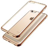 4.7″ ONLY!!! iPhone 6, iPhone 6S case, protective Apple cover, crystal clear, Soft Gel Plating TPU Case, FS 0413 Phone Case (Gold)