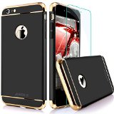 iPhone 6 Case, Anole® Ultra-thin 3 in 1 Anti-Scratch Anti-fingerprint Shockproof Resist Cracking Electroplate Metal Texture Armor PC Hard Back Case Cover & Skin for Apple iPhone 6 4.7 Inch (Black)